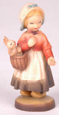 """Anri Italian wood carving-Girl Basket Bunny Rabbit-4"""" Tall-Ferrandiz"""