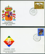 China  4 Commemorative Covers  Spain Singapore Indo-Chi