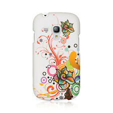 AT&T Samsung Galaxy S3 MINI i8190 Rubberized HARD Phone Case White Autumn Flower