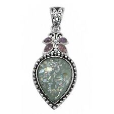 Sterling Silver Pendant w/ 2,000 Year Old Antique Roman Glass (BTS-NP7928/RG)