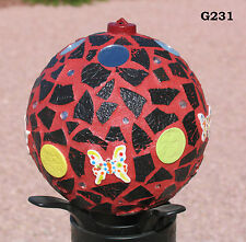 """Red and Black 6"""" - Handmade Mosaic Gazing Ball For Your HOME inside or out G231"""