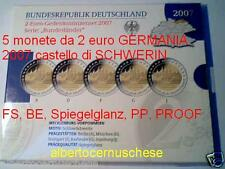 5 monete PROOF BE 2 euro 2007 Germania  ADFGJ Schwerin