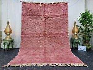 "Handmade Moroccan Beni Ourain Rug 5'5""x8'1"" Checked Berber Pink Orange Wool Rug"