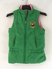 Ralph Lauren Equestrian Patch XL Green Pink Reverse Down Zip Front Puffer Vest