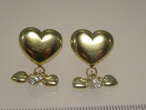 80er Jahre Ohrschmuck Ohrstecker 585 Anteile Gold Herzen Zironia Kristall 4,1 g