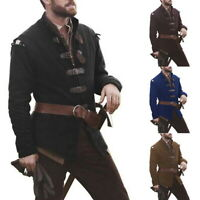 Mens Medieval Renaissance Coat Trench Steampunk Gothic Long Coat Costume Outwear