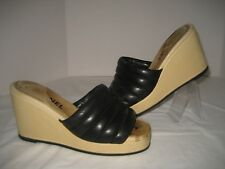 CHANEL Women Black Leather Beige Wedge Slip On Open Toe Sandals EU 38 US 7 Shoes