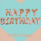 """17"""" Rose Gold Happy Birthday Letters Banner Foil Balloon Bunting Banner Decor"""