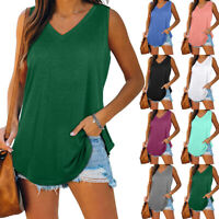 Womens Summer Sleeveless V Neck T Shirt Casual Solid Blouse Loose Tunic Tank Top
