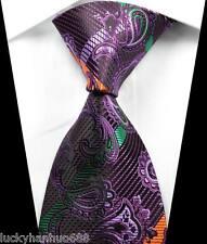 New Paisleys Stripes Purple Green JACQUARD WOVEN 100% Silk Men's Tie Necktie
