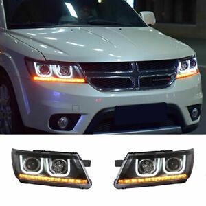 For Dodge Journey LED Headlights Projector LED DRL Replace OEM Halogen 2009-2019