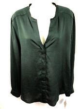 Anne Klein Hunter green Chiffon long sleeve lace back blouse top women 16 NWT