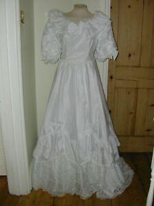 VINTAGE 80s LADIES PRINCESS DIANA EDWARDIAN WEDDING DRESS SIZE 10   VGC