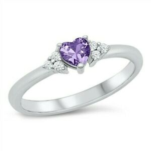 Heart Ring Sterling Silver 925 Rhodium Plated Amethyst Face Height 4.5 mm Size 7