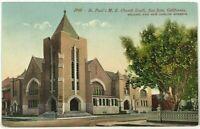 St Paul's Church South San Jose California CA Street View Vintage Postcard