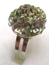 bague réglable bijou vintage couleur argent boule de cristaux couleur  diamant