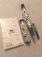NEW JINHAO HEAVY SILVER PLATED GT DRAGON & PHOENIX FOUNTAIN PEN-BOXED-UK SELLER
