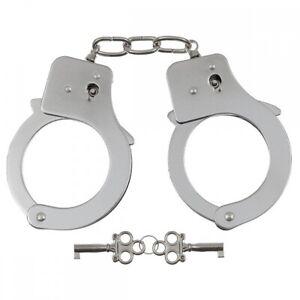Stabile Polizei Handschellen mit 2 Schlüssel chrom Security Handcuffs SEK NEU