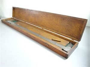"STARRETT PRECISION 36"" VERNIER CALIPERS NO. 122 + WOODEN CASE"