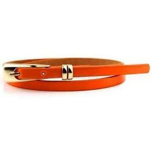 Ladies Women Fashion Skinny Thin Faux Leather Waist Belt Adjustable Soft Skater