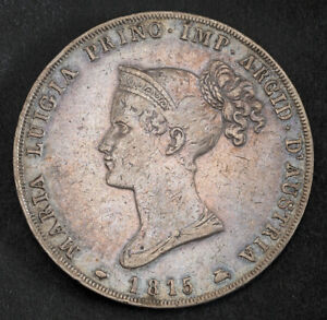 1815, Parma (Duchy), Marie Louise of Austria. Large Silver 5 Lire Coin. VF/aXF!