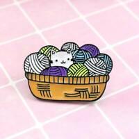 Yarn Ball And Cute Cat Enamel Pin Brooches Cartoon Animal Jewelry JJ