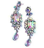 AB Rhinestone Chandelier Earrings Bridal Prom 3.1 inch