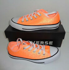 CONVERSE All Star Glitter Ladies Orange New Casual Lace Up Shoes Trainers Size 4