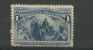 UNITED STATES 1893 COLUMBUS 1 CENT BLUE FINE MOUNTED MINT SG 235