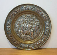 Small Antique 19th Century Indian Brass Dish with Silver & Copper Relief (Deity)