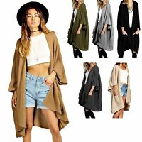 New Women Ladies Baggy Oversized Chunky Knitted Long Jumpers Pocket Cardigans Ca