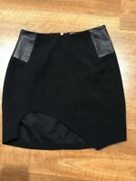 SHAKUHACHI Black Cut Out Leather Panel Skirt Small