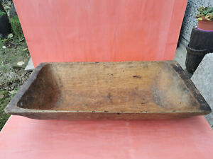 OLD ANTIQUE PRIMITIVE WOODEN DOUGH BOWL ROUND TROUGH NOSHTVA TRENCHER KOPANKA 19