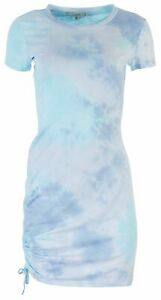No Comment Juniors Smocked Tie-Dye Fitted Dress