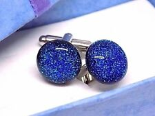 Handmade Sparkle Blue Dichroic Glass Cufflinks Silver Plated Toggles W/Gift Box!