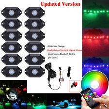 12Pcs Waterproof RGB LED Rock Light Pods Off-road Strobe Flash Deck Trucks Lamp