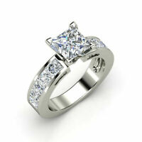 3.90 Ct Princess Cut Diamond 14k White Gold Fn Invisible Setting Engagement Ring