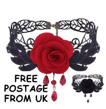 BLACK LACE AND ROSE CHOKER WITH 3D RED OR BLACK ROSE - GOTH FESTIVAL ETC
