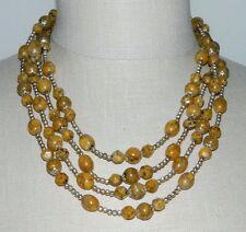 VTG Hong Kong Topaz Vein Faceted Bead Multi-Strand Gold Tone Choker Necklace