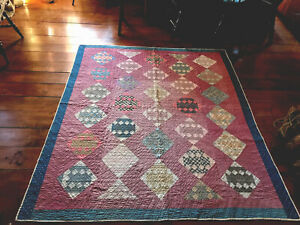 BEST Early Antique Hand Sewn All Calico Front Blue Burgundy AAFA Quilt Textile