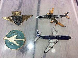 4 VINTAGE ENAMEL AIRPORT BADGES, MANCHESTER, COMET JNR JET CLUB FREE UK DELIVERY