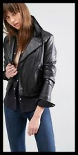 Levi's Soft Black Leather Biker Style Jacket Size 14