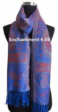Large Paisley 2-Ply 100% Cashmere Pashmina Shawl Wrap, Royal Blue
