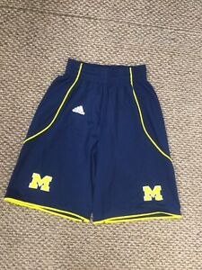 Michigan Wolverines Blue Yellow Athletic Basketball Shorts Small Excellent Cond