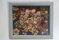 Vintage Art Frame Collage of Papers and Pressed Flowers