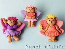 FAIRY BEARS Girl Faery Teddy Fantasy Magic Wand Wings Dress It Up Craft Buttons