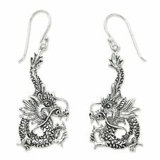 Silver Dangle Earrings Sterling 925 Handmade 'Dragon Splendor' NOVICA Bali