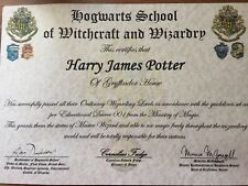 Harry Potter Hogwarts OWL Certificate Diploma & Report Card Personalised Gift