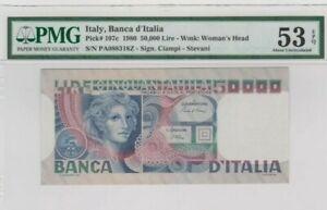 1980 ITALY 50000 lire PMG53 EPQ Almost UNC @ P-107c