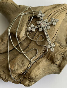 Vintage 925 Silver & Cubic Zirconia Large Ornate Cross Crucifix Pendant & Chain
